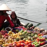 Vietnamese woman selling stuff from her little boat