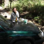 The car was our picnic table