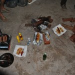 Our dinner! Kangaroo steak, sausages and toast
